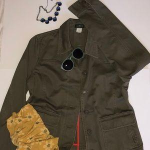 J Crew L Olive Green Canvas Jacket